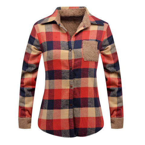 Female Casual Cotton Plus Velvet Long Sleeve Plaid Shirt