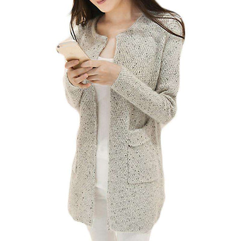 Long Sleeve Knitted O Neck Open Stitch Cardigan Grey