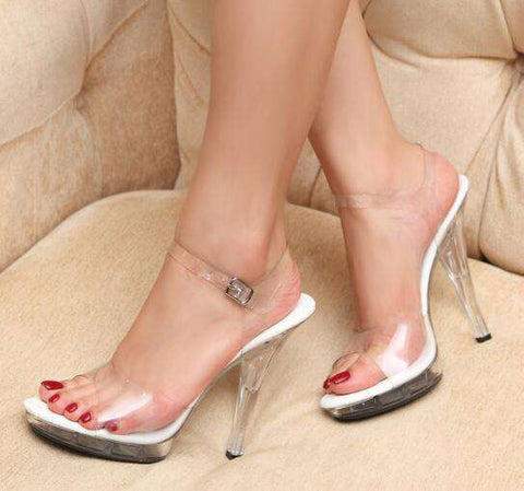 PVC Women Platform Sandals High Heels Waterproof