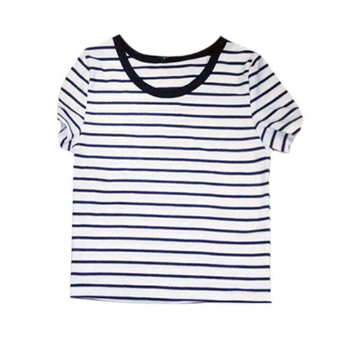 Casual Round Neck Short Sleeve Striped Crop Top