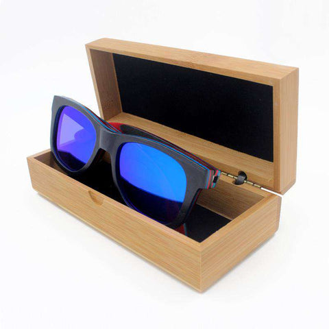Men Wooden Sunglasses Polarized Mirror With Metal Spring Hinge