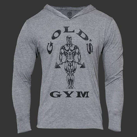 Long Sleeve Fitness Muscle Sweatshirt Men Cotton