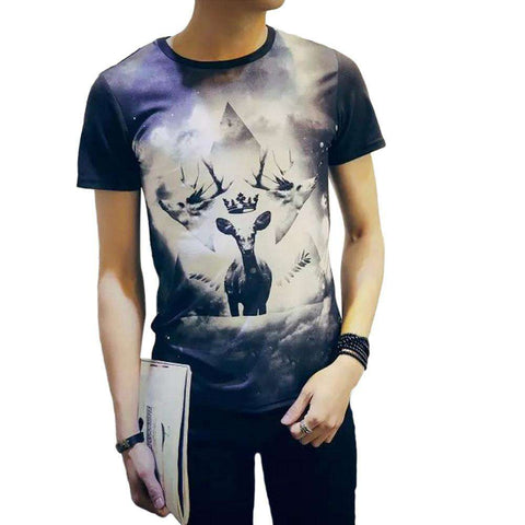 Casual Short Sleeve Skull 3D men
