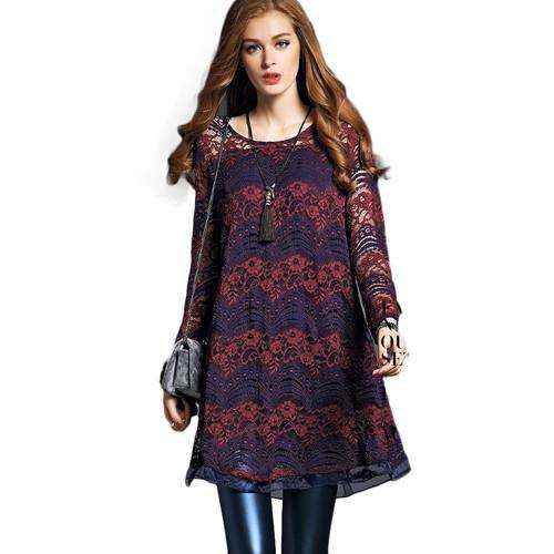long sleeve dresses elegant loose hollow Lace Extender