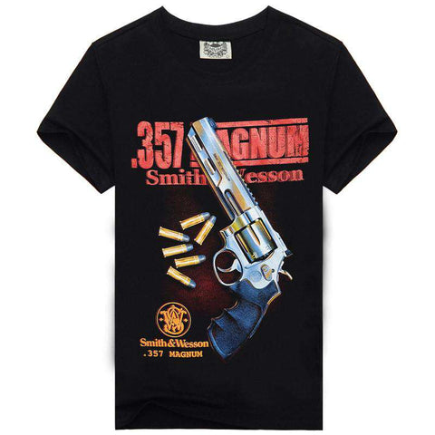 3D printed Gun T shirts Men Casual Hip Hop