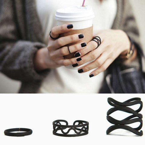 Black Hollow Finger Ring Set for Women
