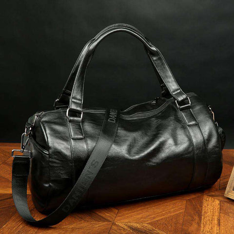 Classic Men's Soft Leather Sport Bags Gym Bag