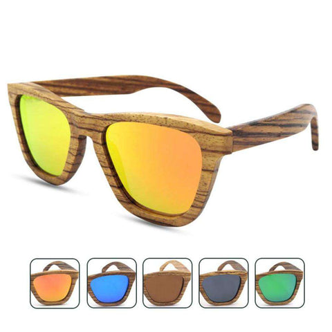 Environmental Protecting Polarized Lens Sunglasses Zebra Wooden Frame Unisex