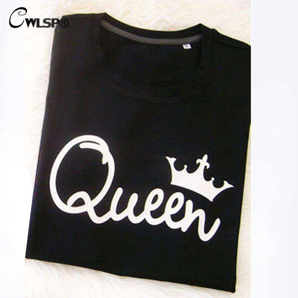 King Queen T Shirt Printing Couple Clothes Tee Shirt O-neck