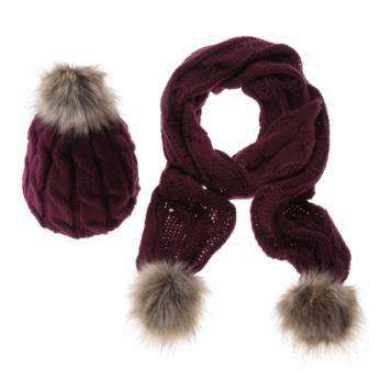Hat And Scarf Set Women Winter Warm