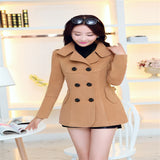 Solid Double Breasted Overcoat Turn-down Collar Slim Outerwear
