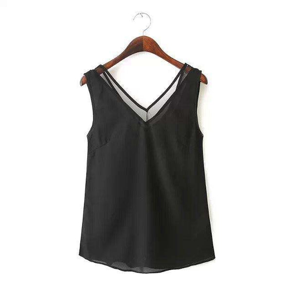V-neck Splice Sleeveless Women Sexy Tops Blouses
