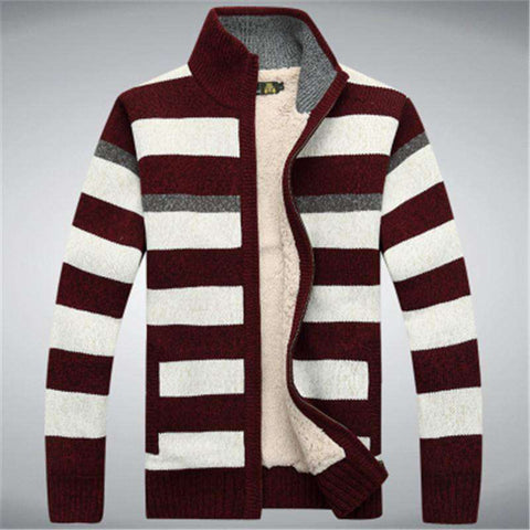 Fleece Thicken Sweater Men 70% Wool Stripe Wool Cardigan sweaters