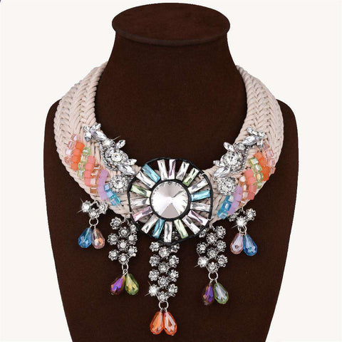 Chain Maxi Nacklaces Crystal Statement Necklace Big Chunky Necklace