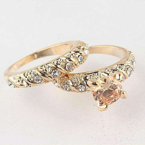 2Pcs/Set Gold Filled Round Cut Solid Rings
