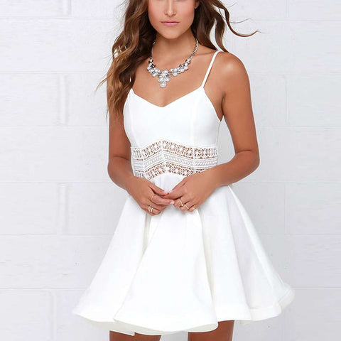 Sexy Strap V Neck Crochet Lace Waist Skater Dress