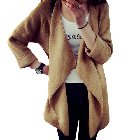 Women Knitted Cashmere Cardigan Sweater Long