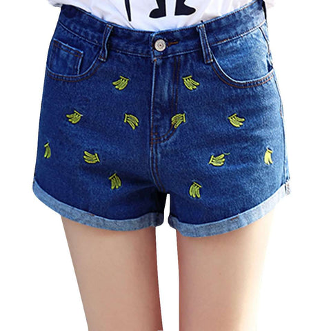 Women Summer Denim Shorts High Waist Embroidery