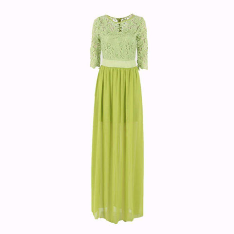 Formal Half Sleeve Chiffon Spandex Gown Maxi Long Dress Green