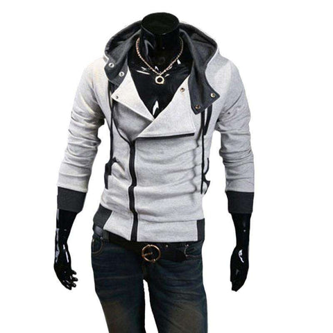 Hoodies Men Casual Zipper Long Sleeve Sweatshirt