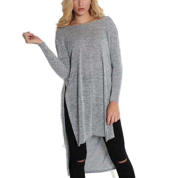 Sexy Women Backless Split Long Sleeve Shirt Off Shoulder Casual Baggy