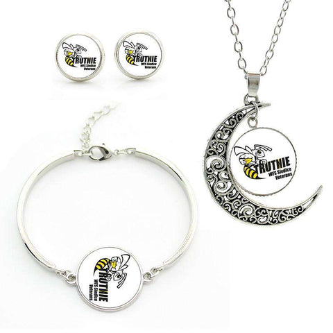 Class Blue Football Rugby necklace earrings for women
