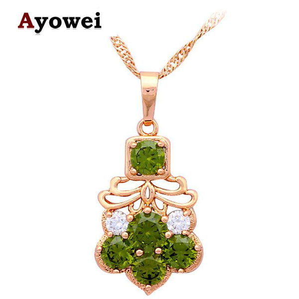 Delicate Gold Plated Zircon Green Crystal Necklace