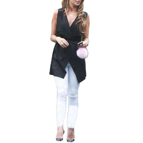 Women Lapel Vest Sleeveless Long Waistcoat Cardigan