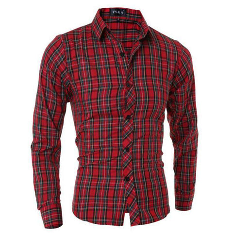 Fashion Brand Men's Plaid Shirt Male Long-Sleeved Shirt