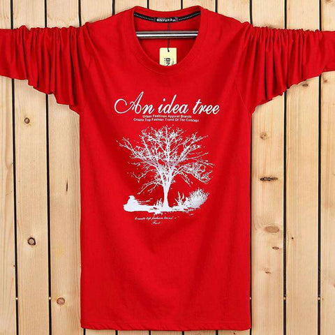 Casual Men's Letter Brand Tree Printed T Shirts Men Loose Long Sleeve