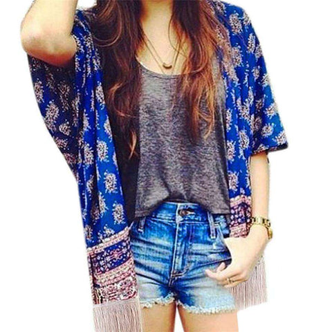 Luck Dog Printed Fight Side Tassel Sleeve Kimono Cardigan