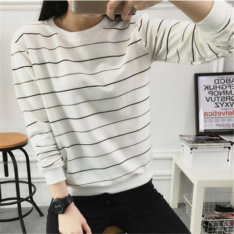 Long-Sleeved T Shirts Women Casual Round Neck Hoodie