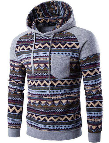 Hoodies Men Pattern Printing Pocket Sweatshirt