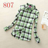 Lapel Long-Sleeve Plaid Shirt Women Slim Blouse Tops