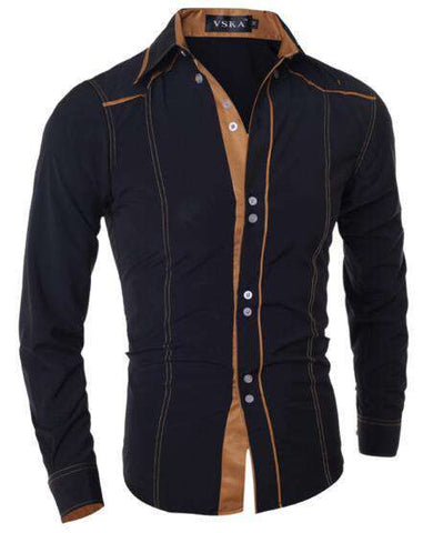 Fashion Brand Men'S Double Button Male Long-Sleeved Shirt