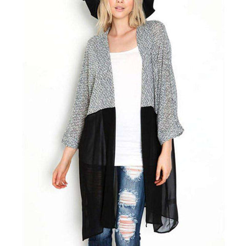 Knitted Patchwork Bat Sleeved Cardigan Black Grey