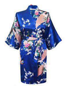 Chinese Rayon Silk Simulation Spring Summer Women Robe Kimono
