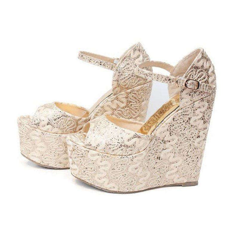 Casual Golden Sexy Women Wedges