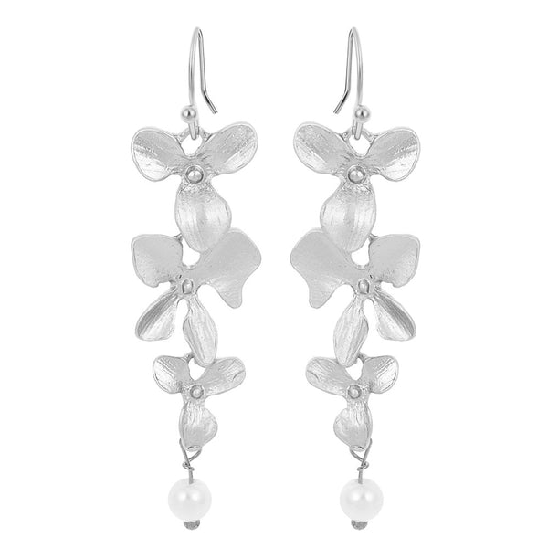Silver Plated Charm Orchid Peals Earrings
