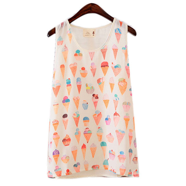 Women  Printed T Shirt Fitted Sleeveless Graphic Vest Tank