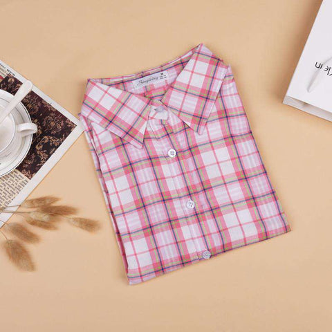 Long Sleeve Turn-Down Collar Plaid Casual Cotton Blouse