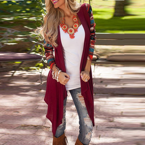 Women Vintage Printed Long Sleeve Casual Loose Knitted Cardigan