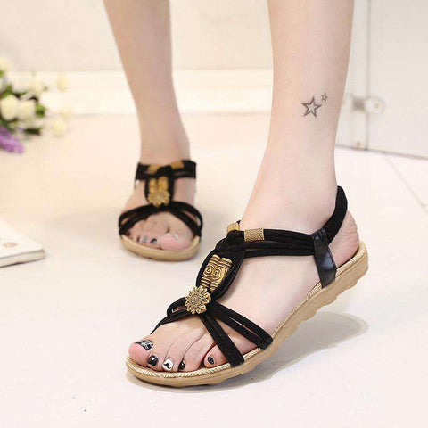 Fretwork Rubber PU Leather Slip On Flat Sandals