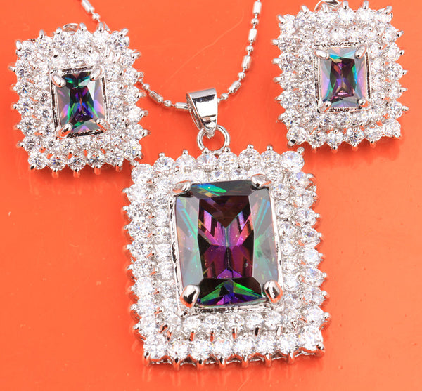 Superb Rectangle Shape White & Mystic Rainbow Gems Silver Necklace