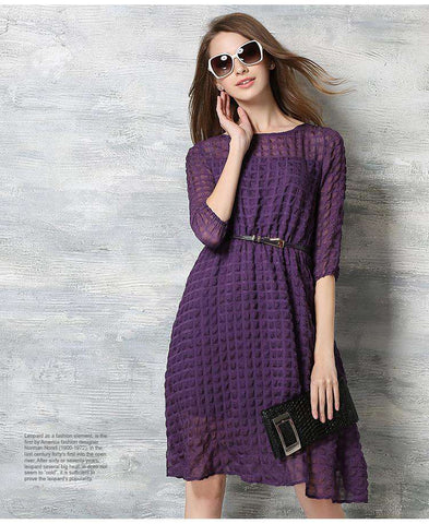 Half Sleeve Casual Chiffon Long Dress Purple