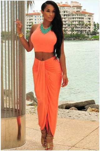 Cascading Vest Beach Two Pieces Sets Bandage Dress Orange