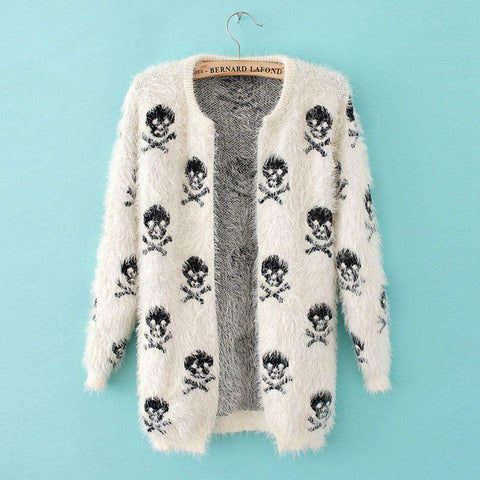 loose round neck long-sleeved knit mohair cardigan women sweater