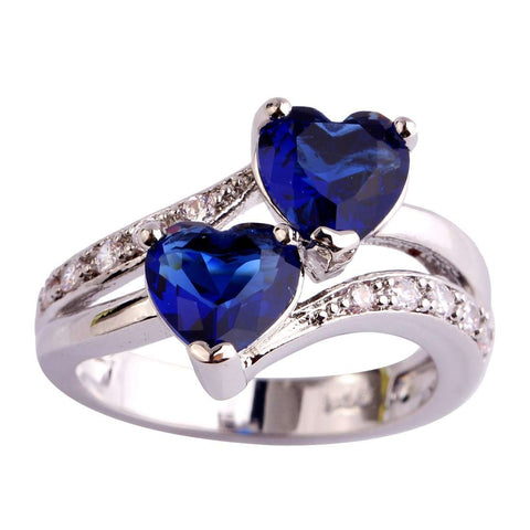 Crystal Blue Plated Silver Ring for women