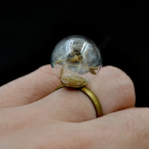 Women Unisex Nature Dandelion Seeds in Glass Wish Ring
