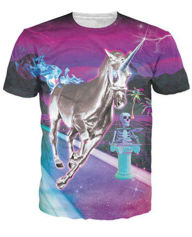 silver unicorn from land 3d colorful print for men